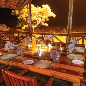 Jamila Lodge Dinner on the Deck over the waterhole